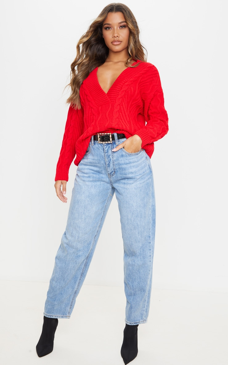 Red Deep V Oversized Cable Knit Jumper 5