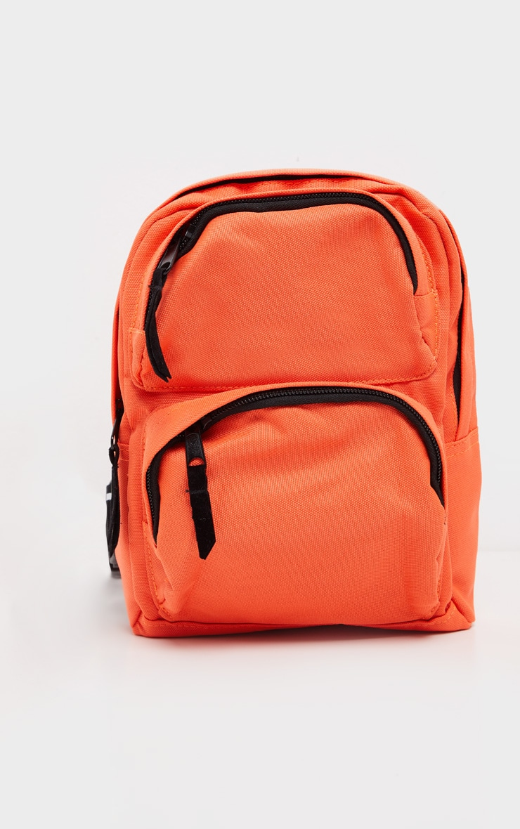 PRETTYLITTLETHING Neon Orange Nylon Front Rucksack 5