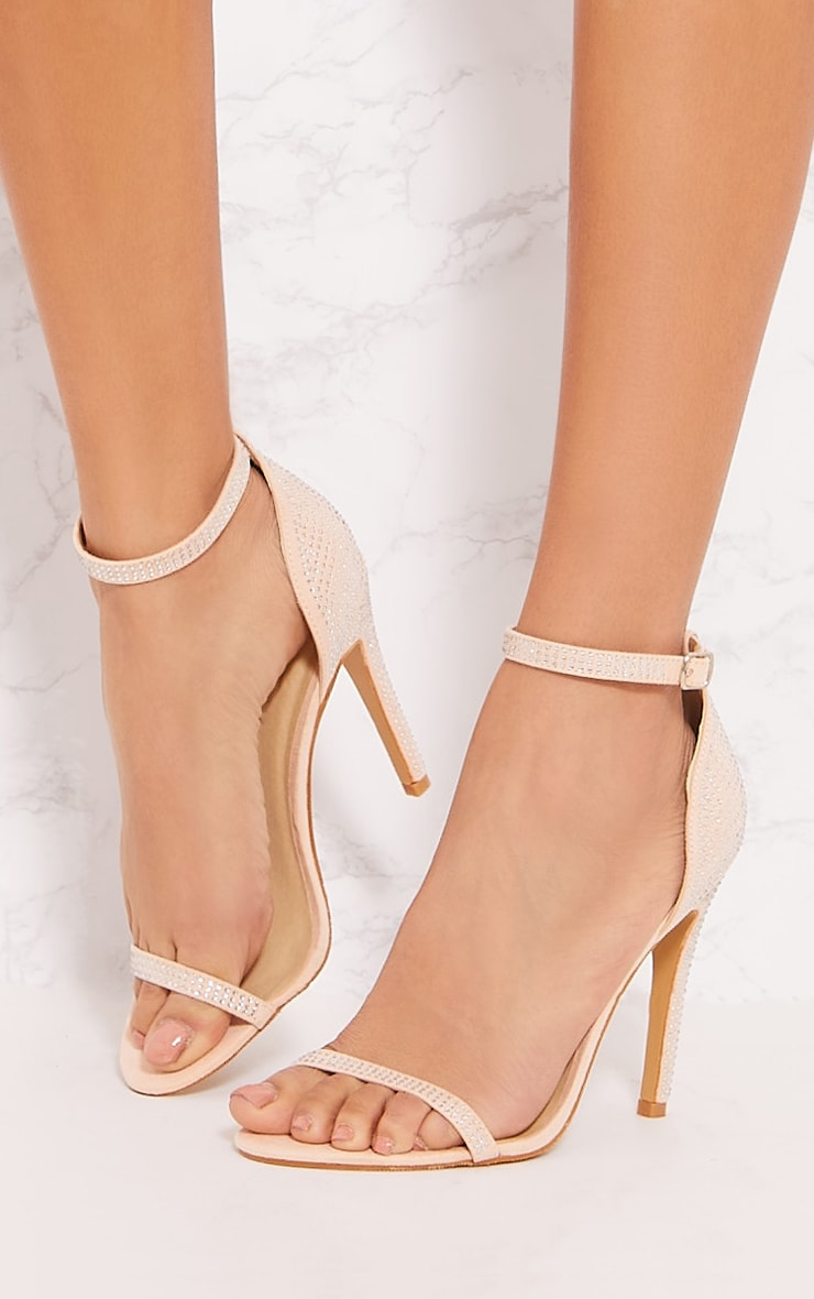 Nude Diamante Barely There Heel Sandal 2