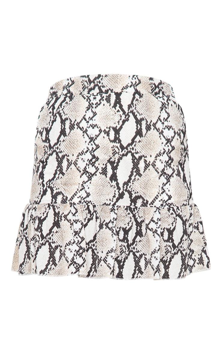 Grey Snake Print Frill Hem Skirt 6