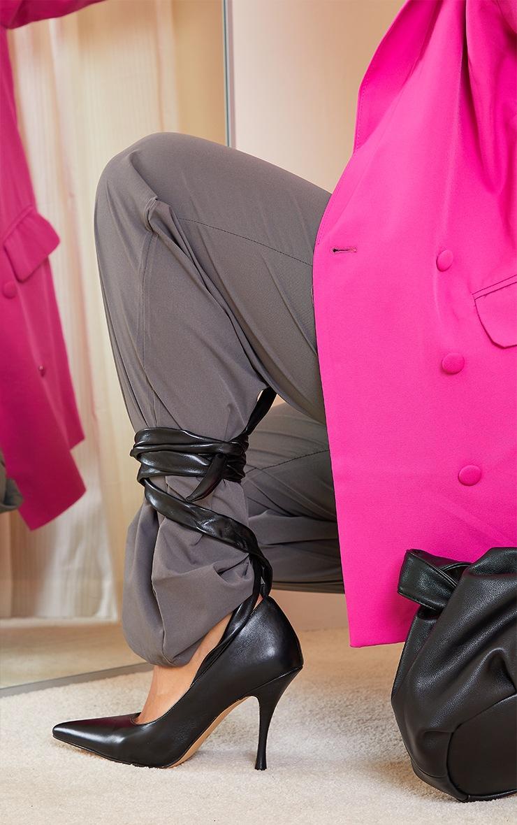 Black PU Ankle Tie Court Shoes 2