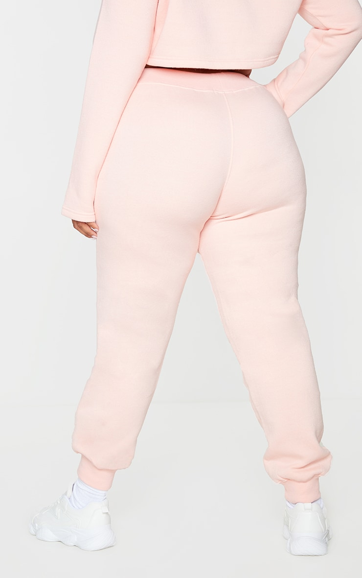 PRETTYLITTLETHING Plus Baby Pink Badge Detail Joggers 3