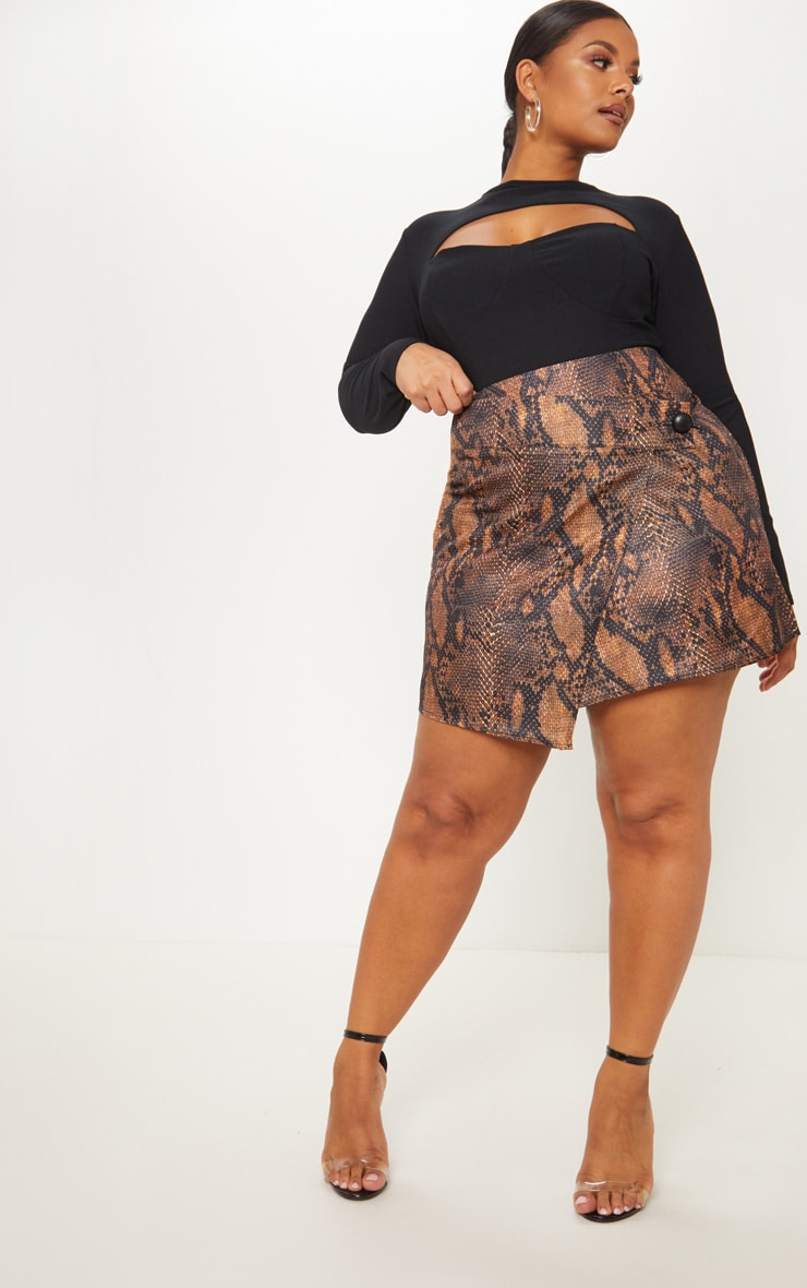 Plus Brown Snake Print Button Detail Wrap Mini Skirt 5