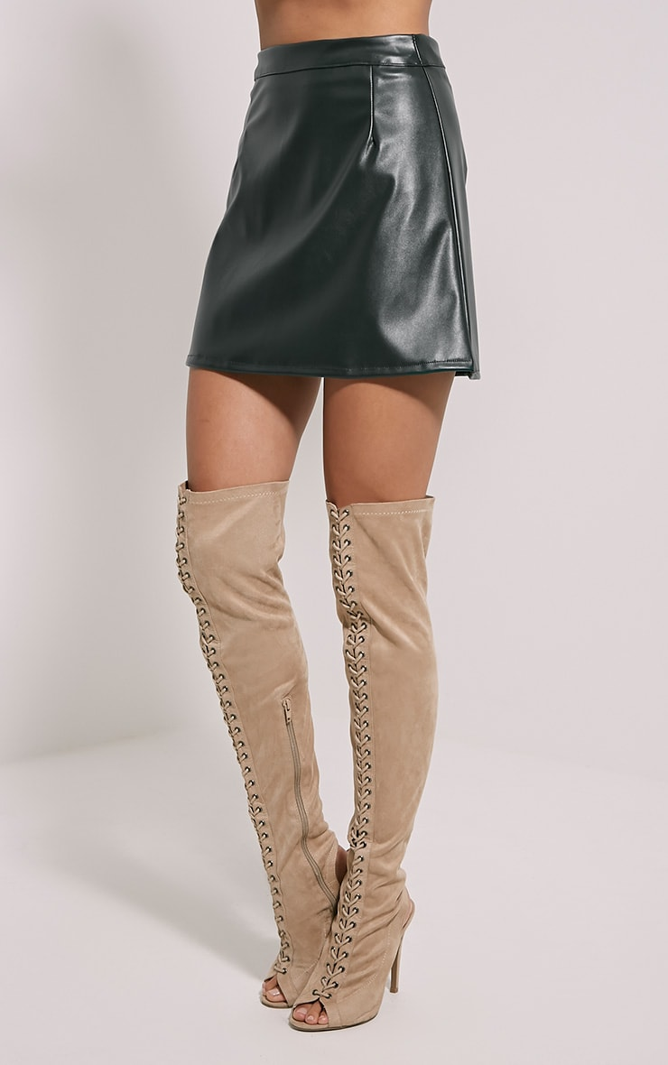Rose Green Faux Leather A-Line Mini Skirt 3