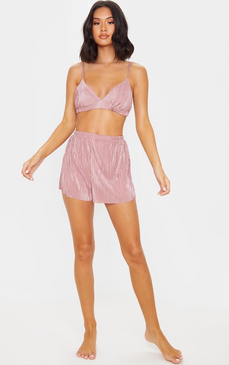 Pink Plisse Bralet & Short PJ Set 4