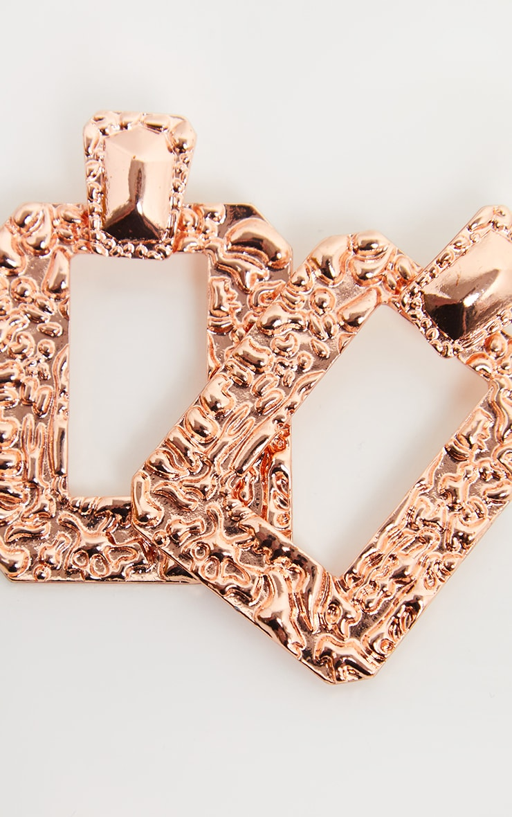 Rose Gold Hammered Square Statement Drop Door Knocker Hoops 3