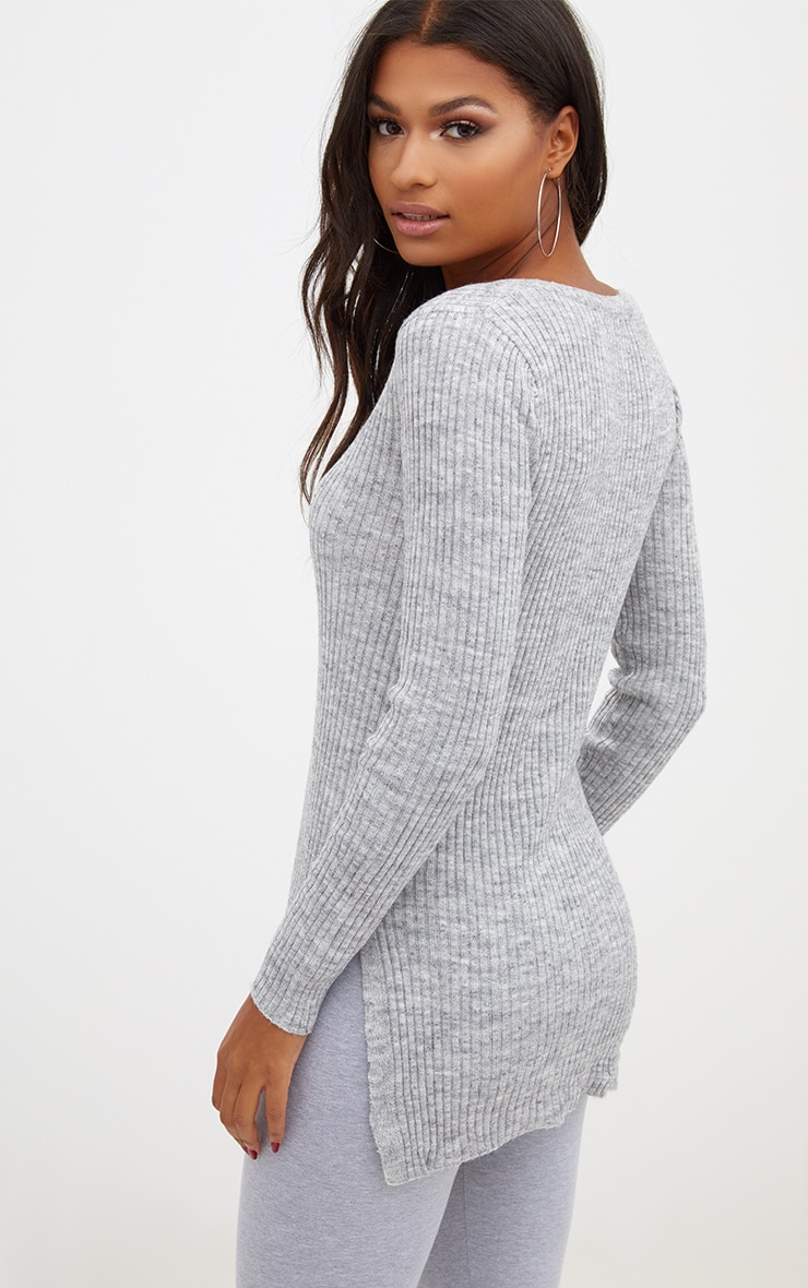 Grey Rib V Neck Jumper 2