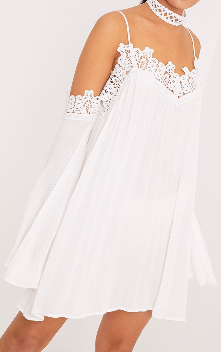 Marisol White Cheesecloth Cold Shoulder Choker Swing Dress 5