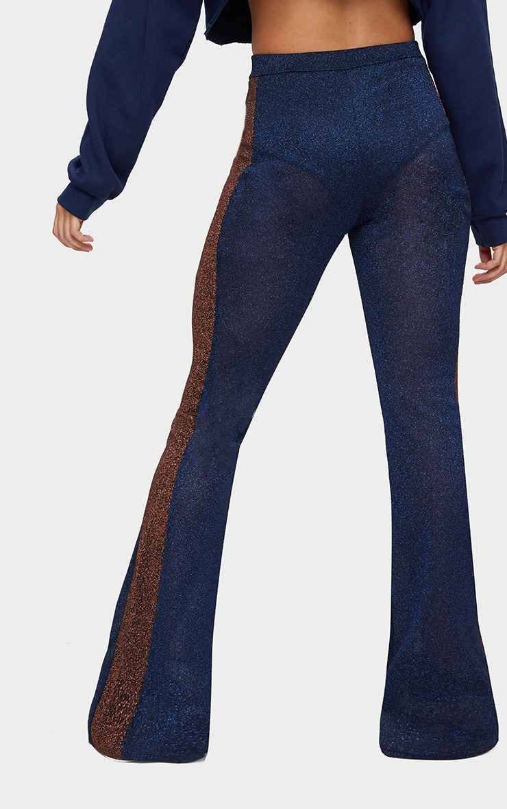 Navy Metallic Contrast Panel Sheer Flared Trousers 4