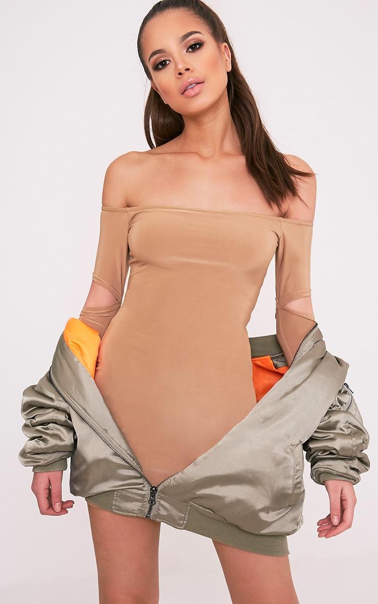 Lorna Camel Slinky Bardot Cut Out Sleeve Bodycon Dress 7