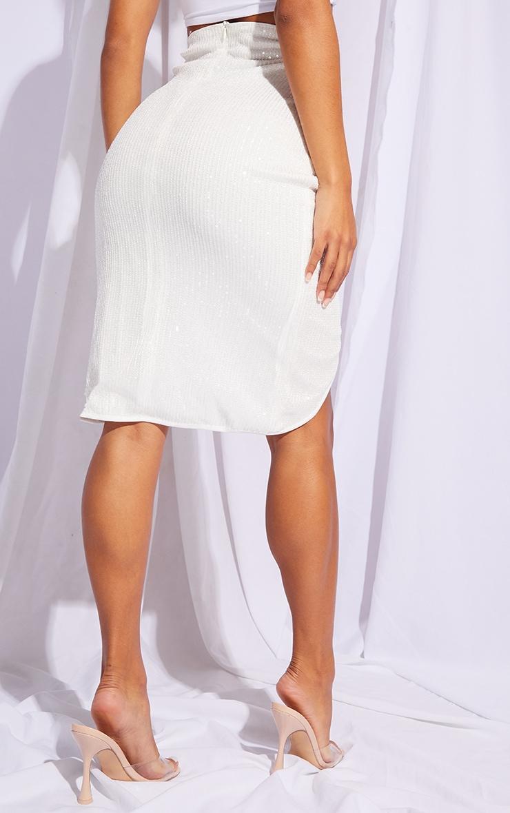 White Sequin Twist Front Midi Skirt 3