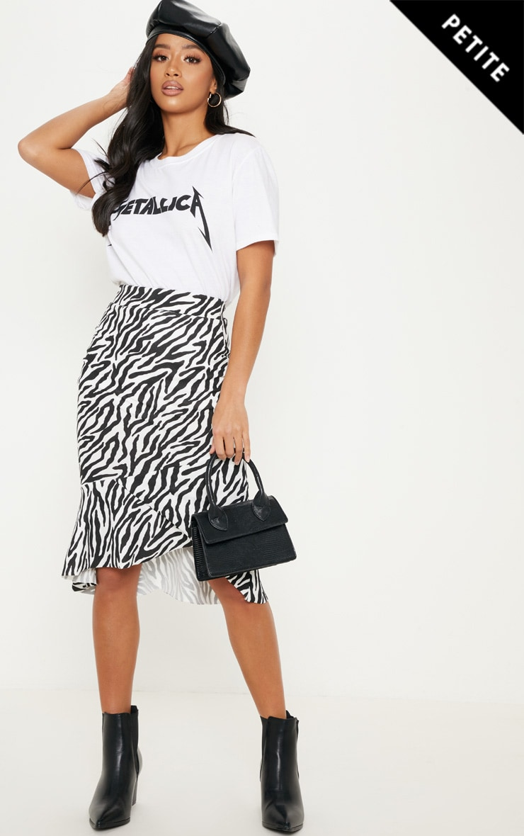 Petite White Zebra Print Ruffle Midi Skirt 1