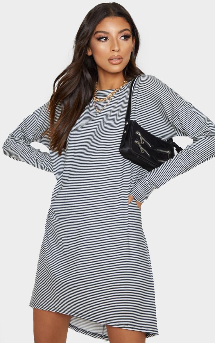 Black Stripe Long Sleeve Boyfriend T Shirt Dress 4
