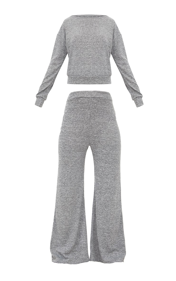 Grey Marl Knit Wide Leg Lounge Set 3