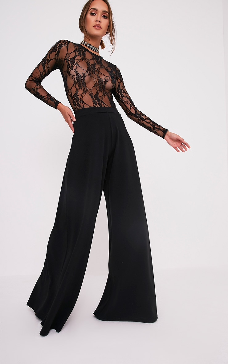 Sidney Black Extreme Wide Leg Crepe Trousers 1