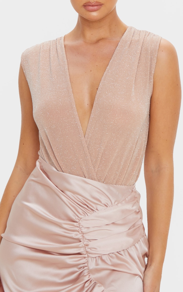 Nude Textured Glitter Deep Plunge Bodysuit  4