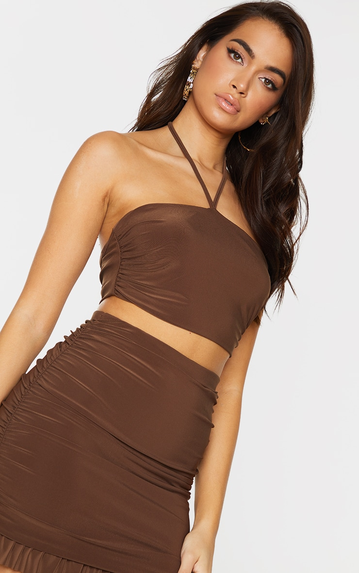 Chocolate Brown Slinky Ruched Detail Halterneck Bandeau Top 4