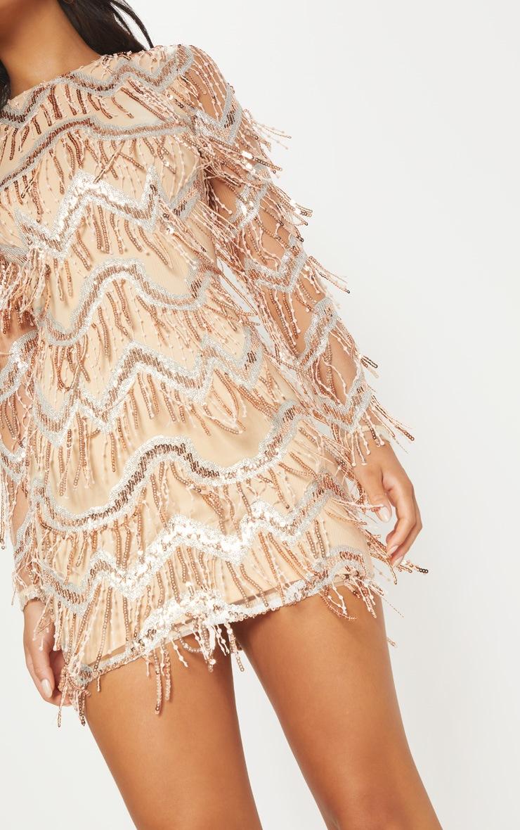 Gold Sequin Tassel Detail Long Sleeve Bodycon Dress 5