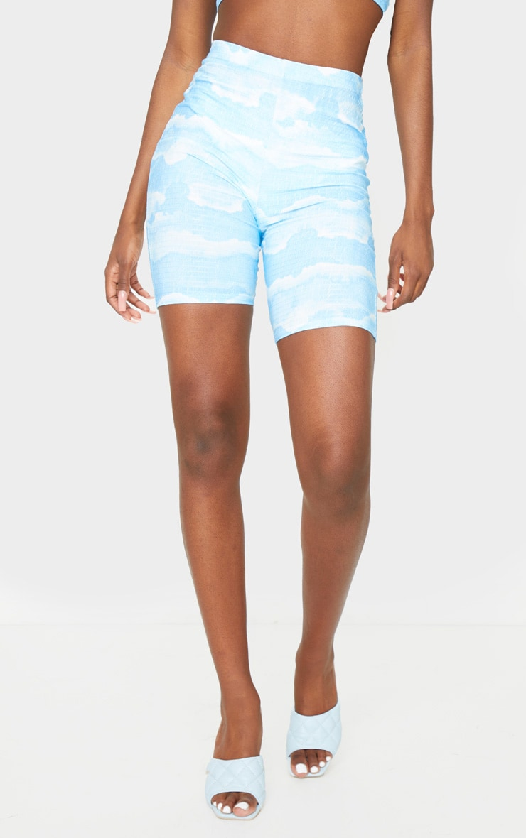 Tall Blue Tie Dye Cycle Crinkle Shorts 2