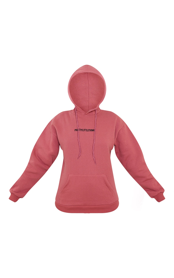 PRETTYLITTLETHING Deep Rose Embroidered Slogan Hoodie 5