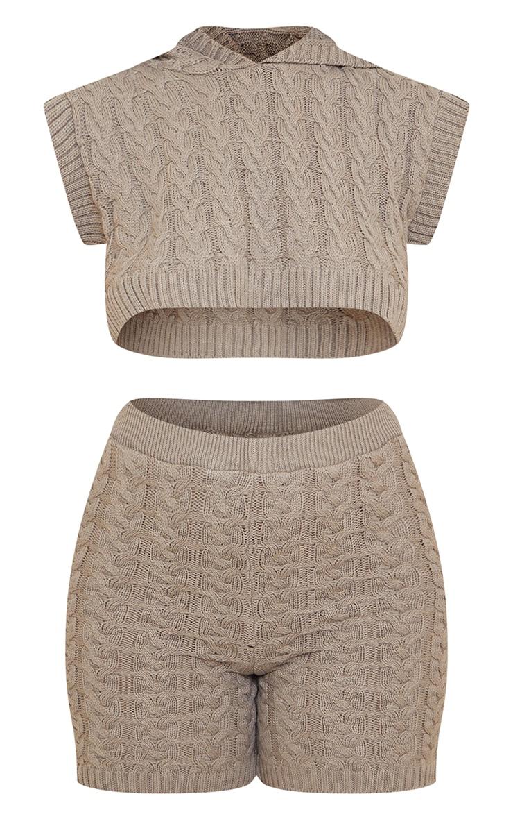 Mocha Cable Crop Hooded Vest And Short Set 6