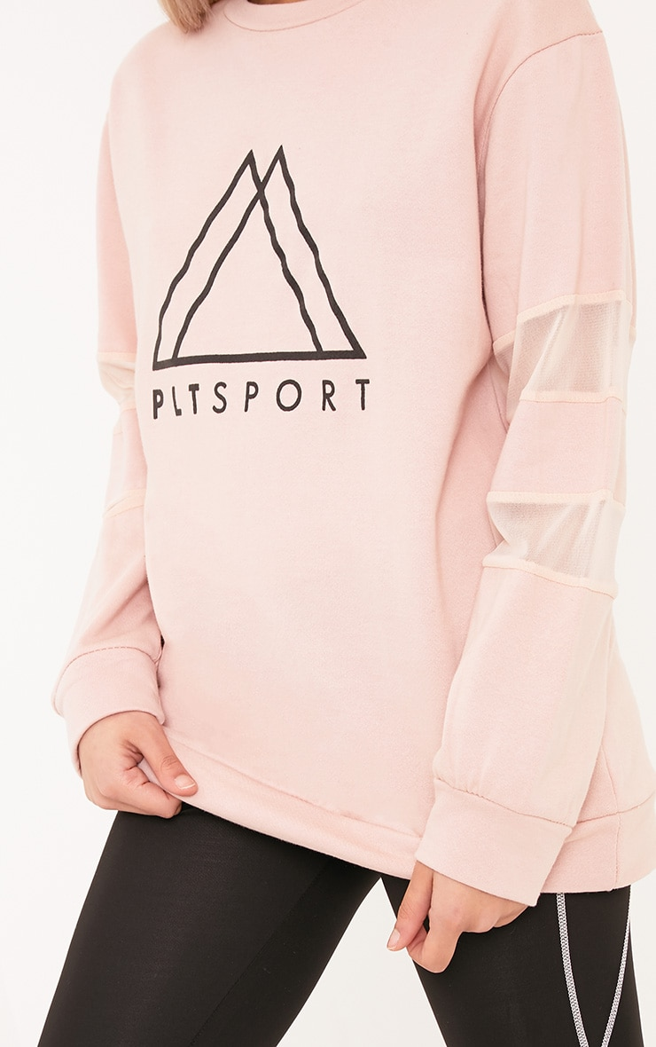 PLT Nude Sport Loop Back Mesh Insert Sweatshirt 5