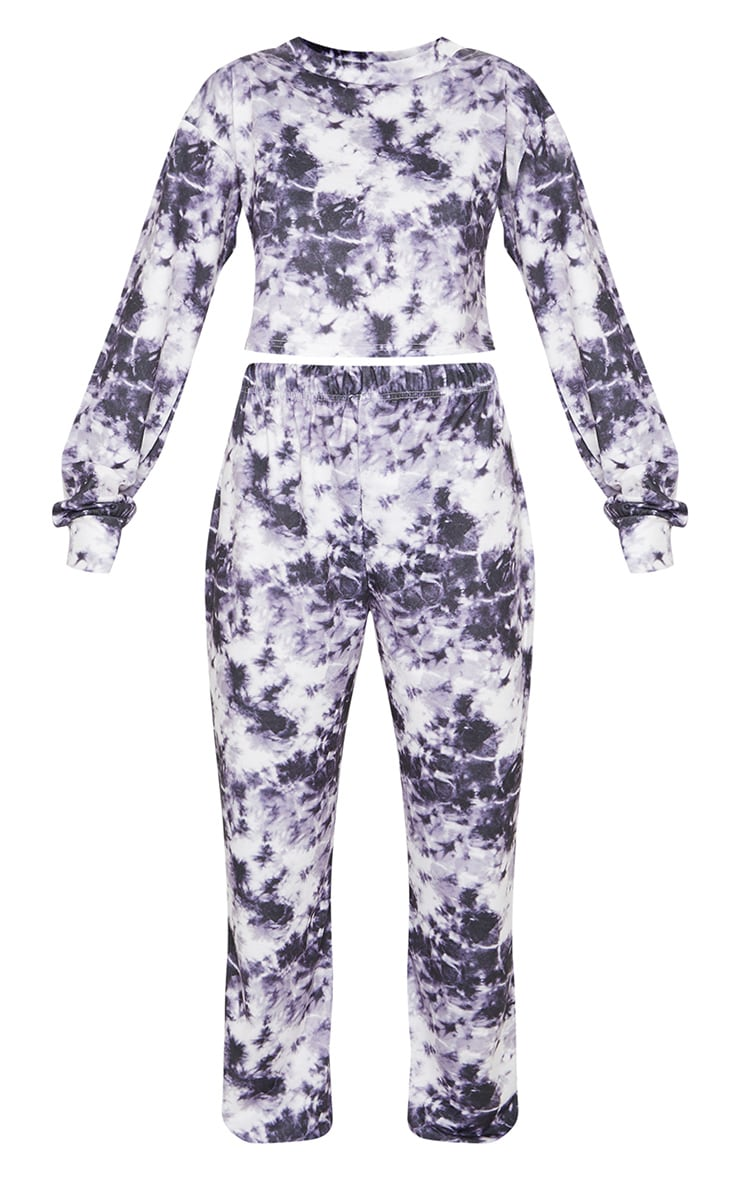 Purple Tie Dye Cropped Sweat And Jogger Set 5