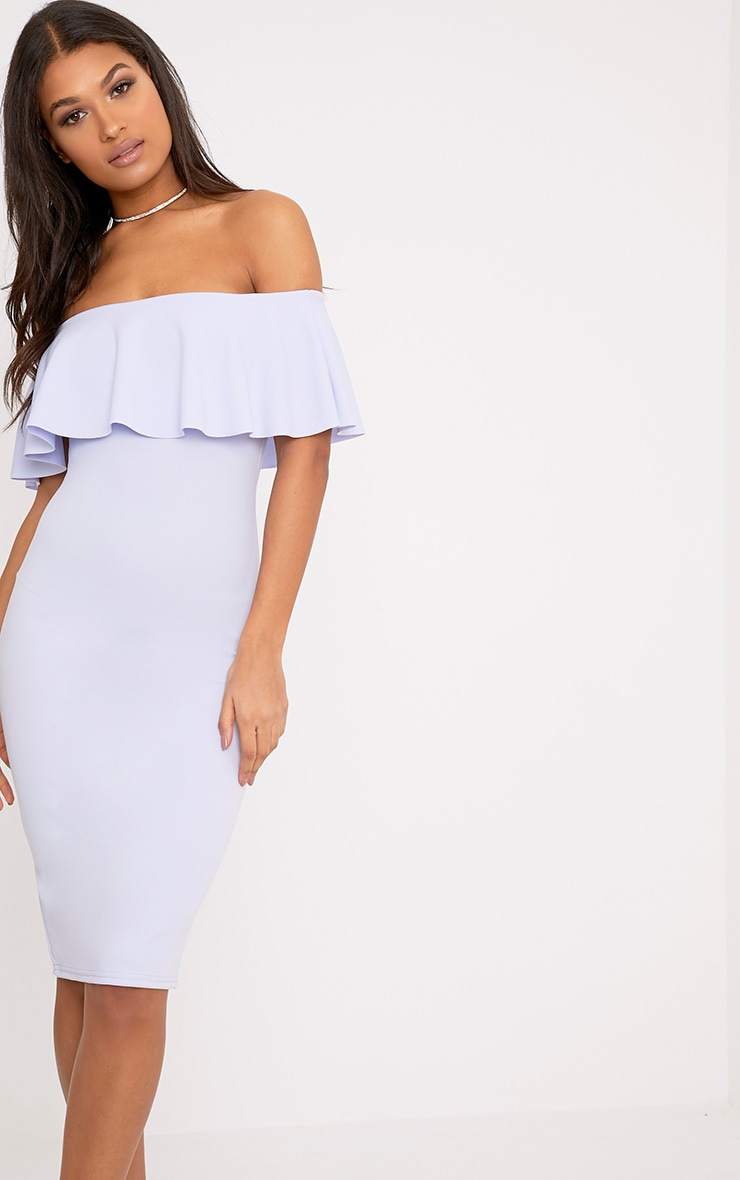 Celinea Dusty Blue Bardot Frill Midi Dress 1