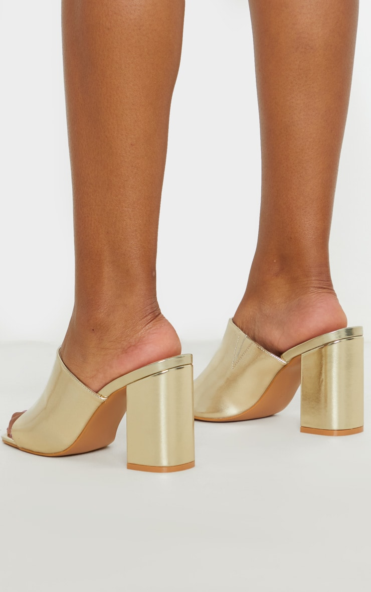 Gold Wide Fit Chunky Block Heel Mule Sandal 2