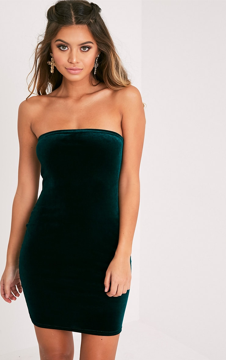 Shany Emerald Green Velvet Bandeau Bodycon Dress  1
