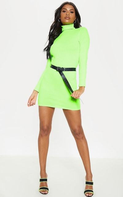 Neon Lime Ribbed Long Sleeve High Neck Bodycon Dress