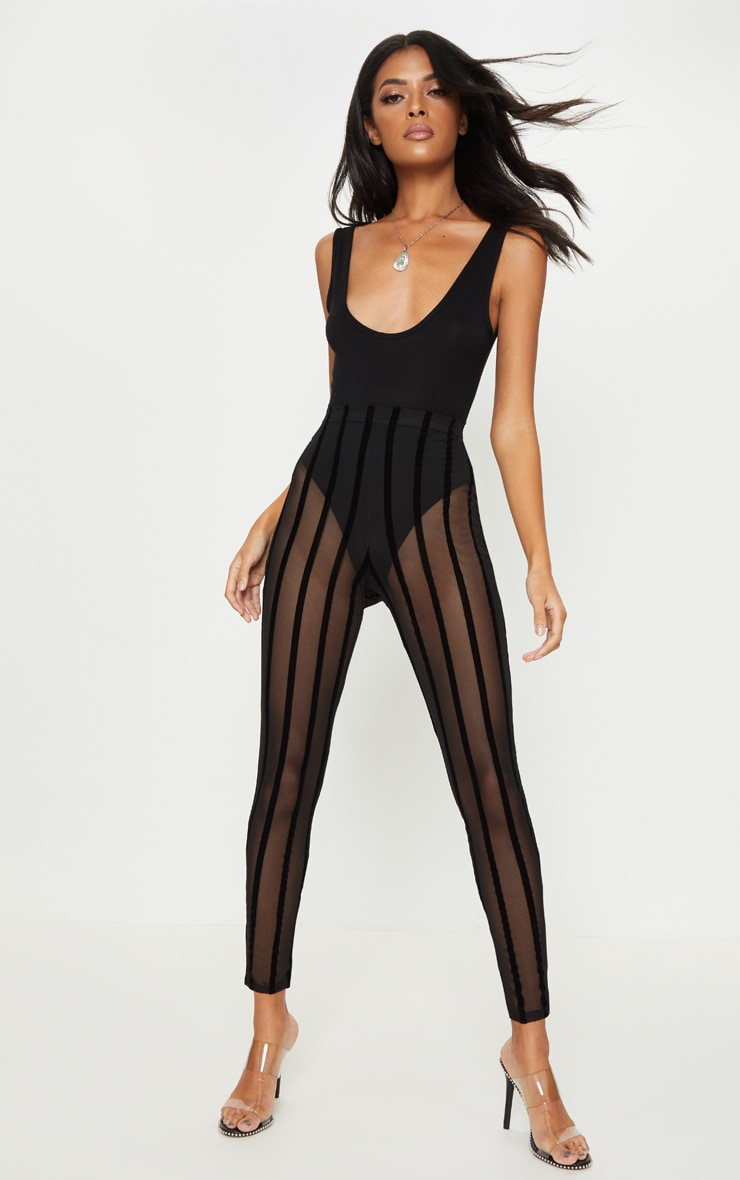 Black Mesh Stripe Legging 1