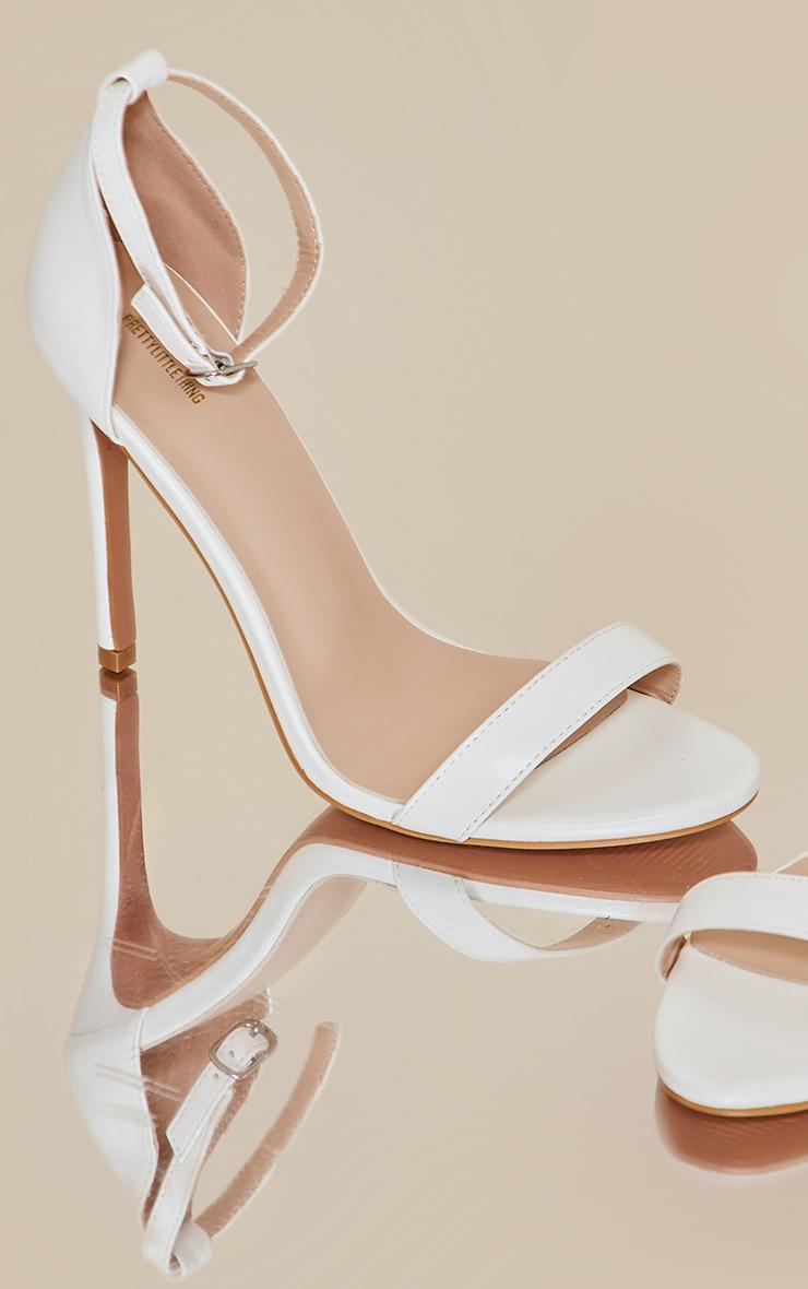 White Wide Fit Clover Single Strap Heeled Sandal 4