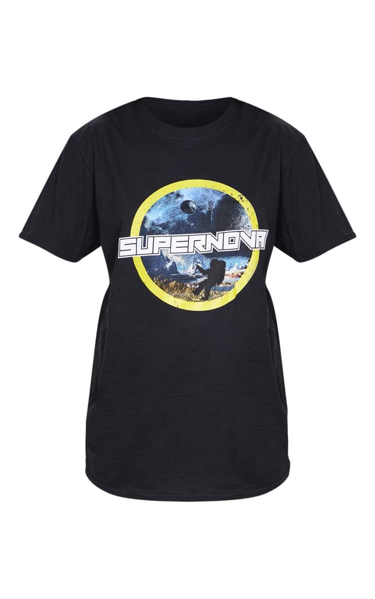 Black Supernova Print Oversized T Shirt 5