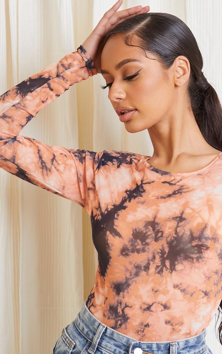 Orange Acid Wash Printed Mesh Shoulder Pad Long Sleeve Bodysuit 4
