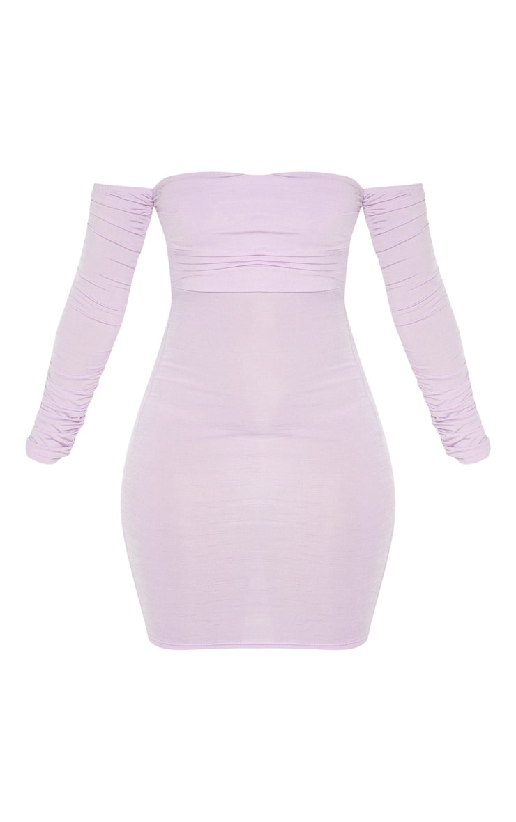 Lilac Ruched Front Arm Bardot Bodycon Dress 3