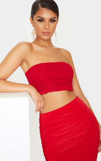 Scarlet Slinky Double Front Ruched Bandeau