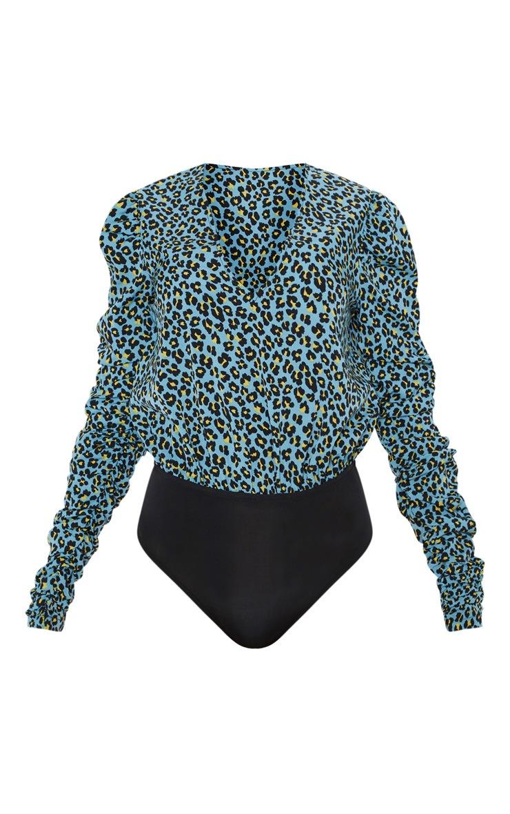 Blue Leopard Print Ruffle Sleeve Bodysuit 4