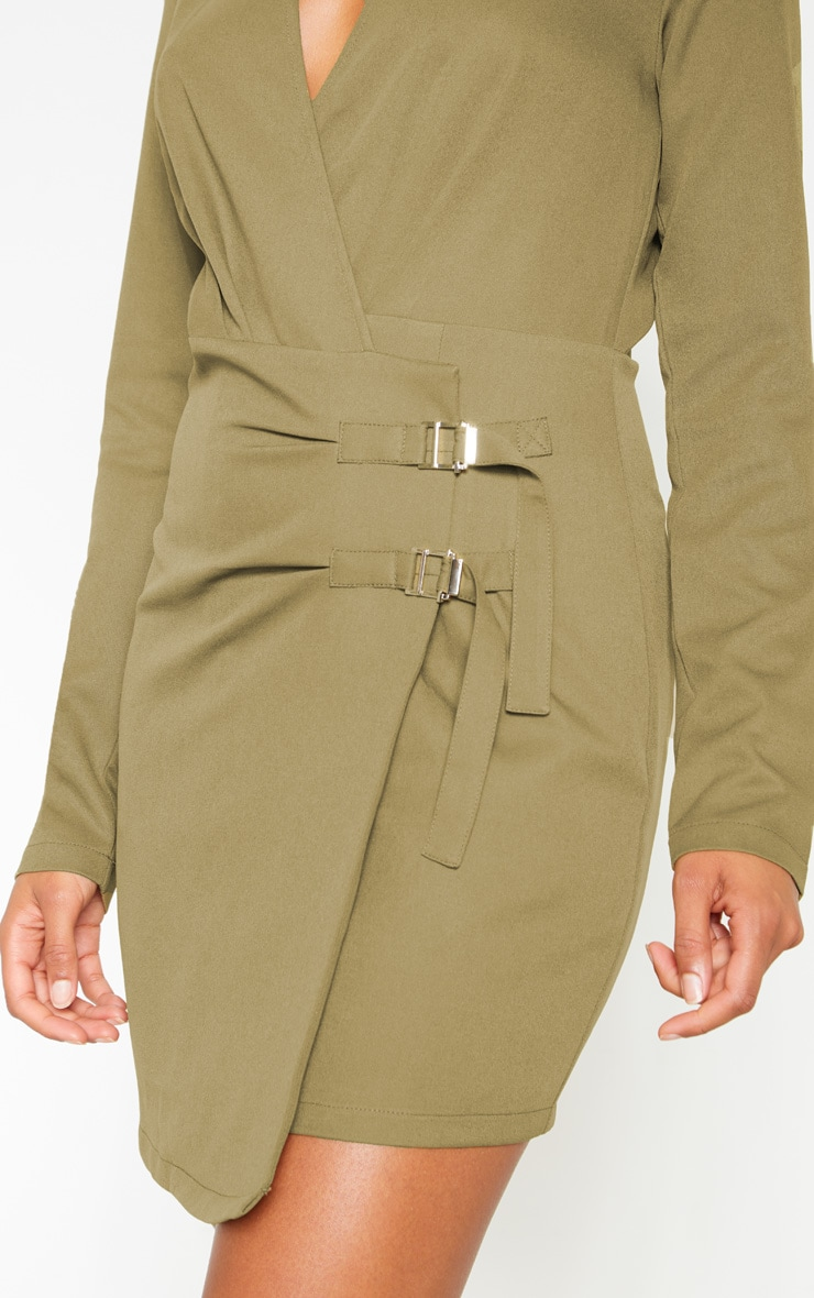 Khaki Buckle Detail Wrap Bodycon Dress 5