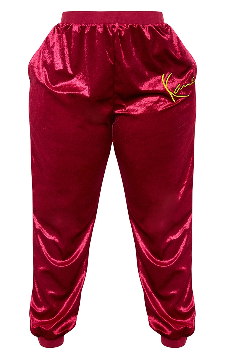 KARL KANI Maroon Velour Embroidered Joggers 5