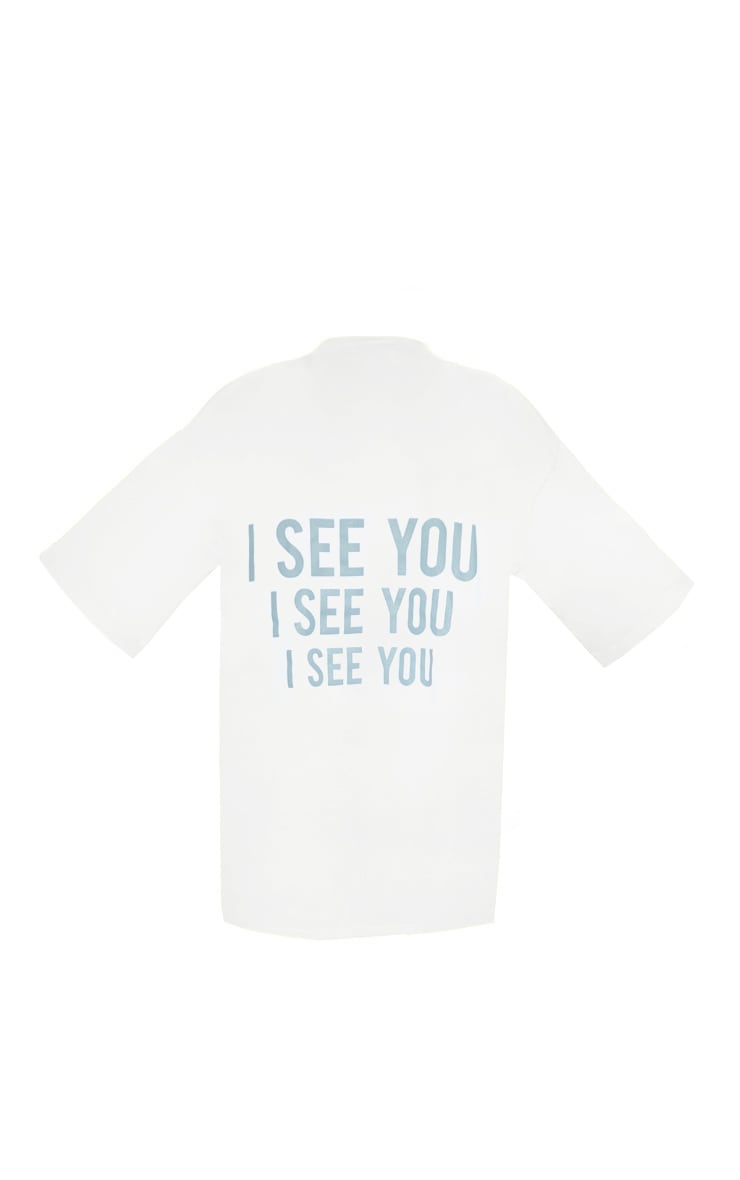 Petite White I See You Oversized Slogan T Shirt Dress 4