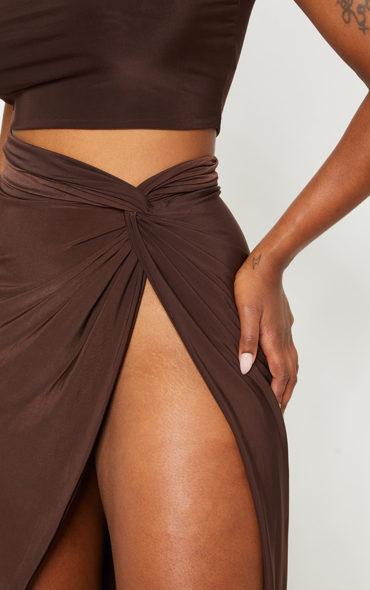 Shape Chocolate Brown Knot Front Split Maxi Skirt 4
