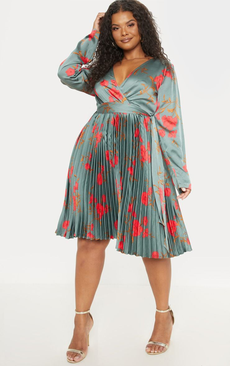 Plus Emerald Green Floral Print Long Sleeve Pleated Midi Dress 1