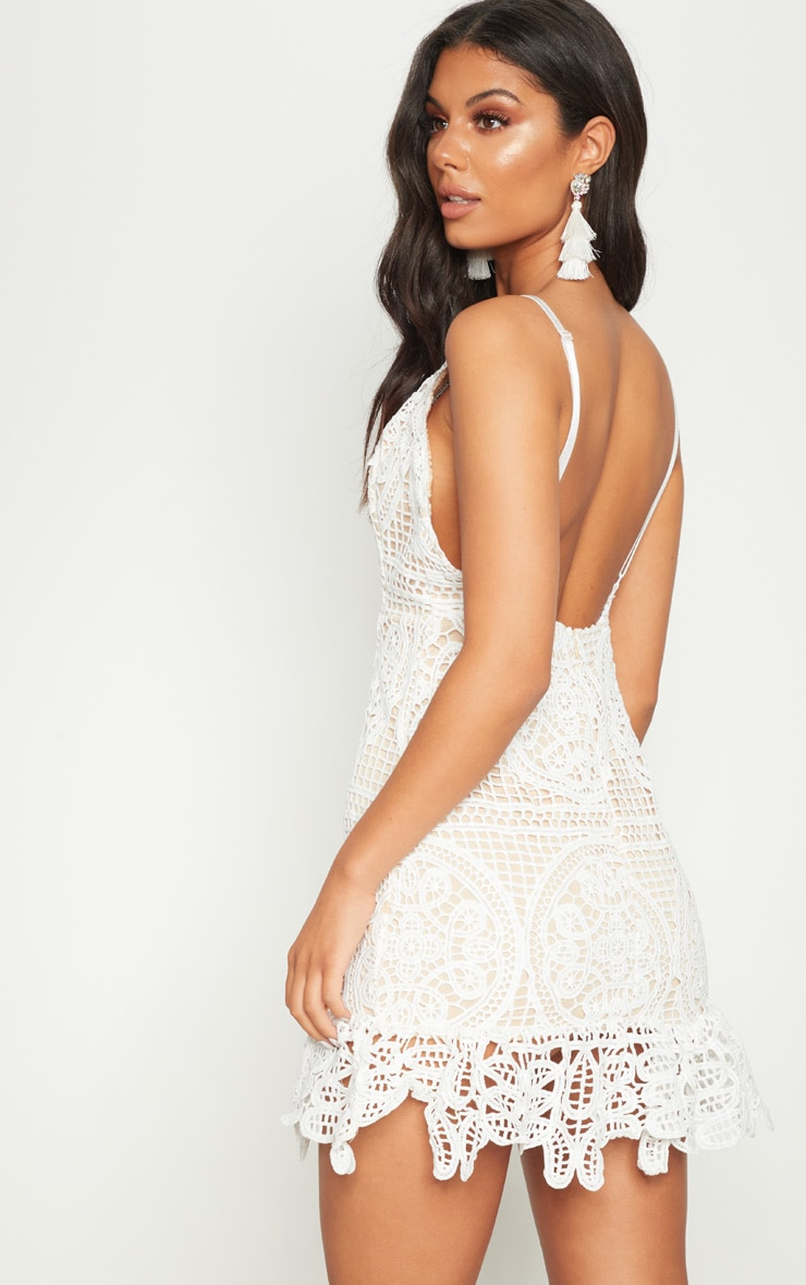 White Strappy Thick Lace Frill Hem Bodycon Dress 2