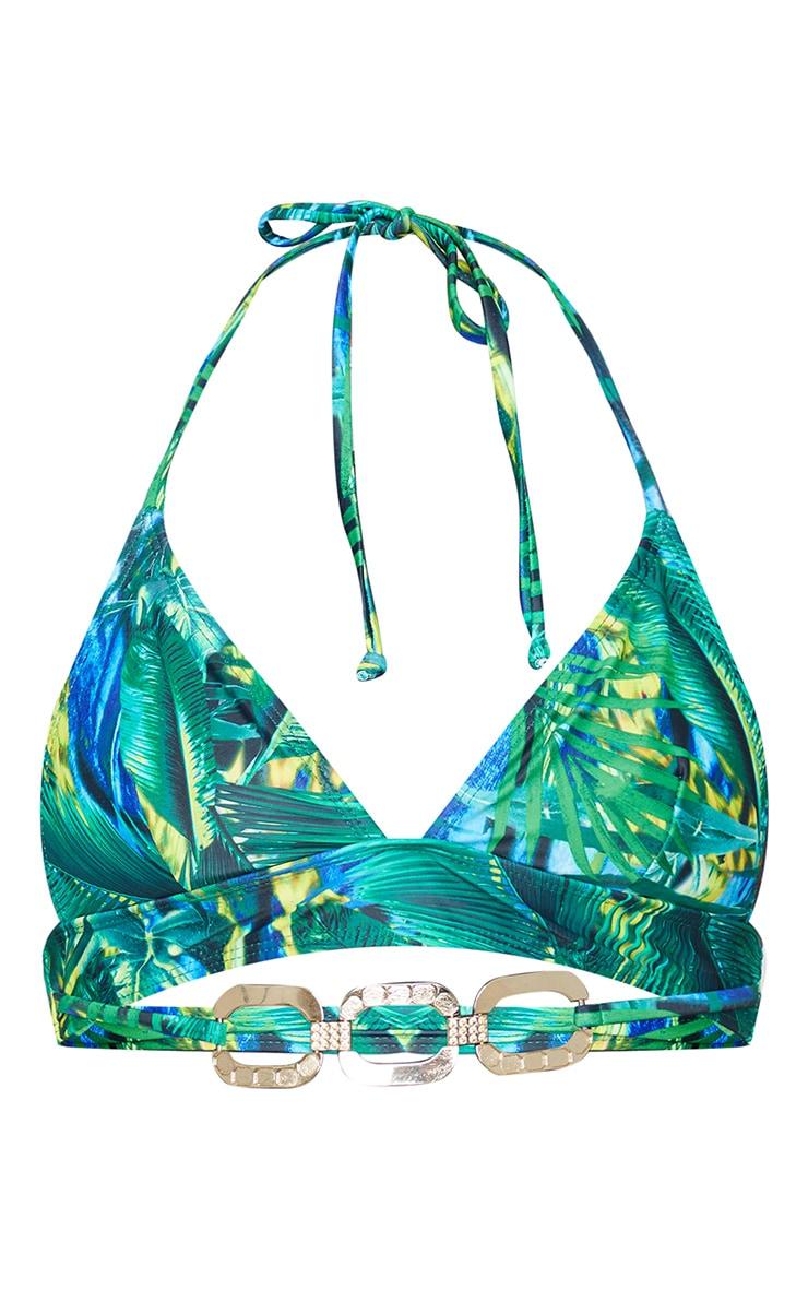 Green Tropical Gold Trim Triangle Bikini Top 5