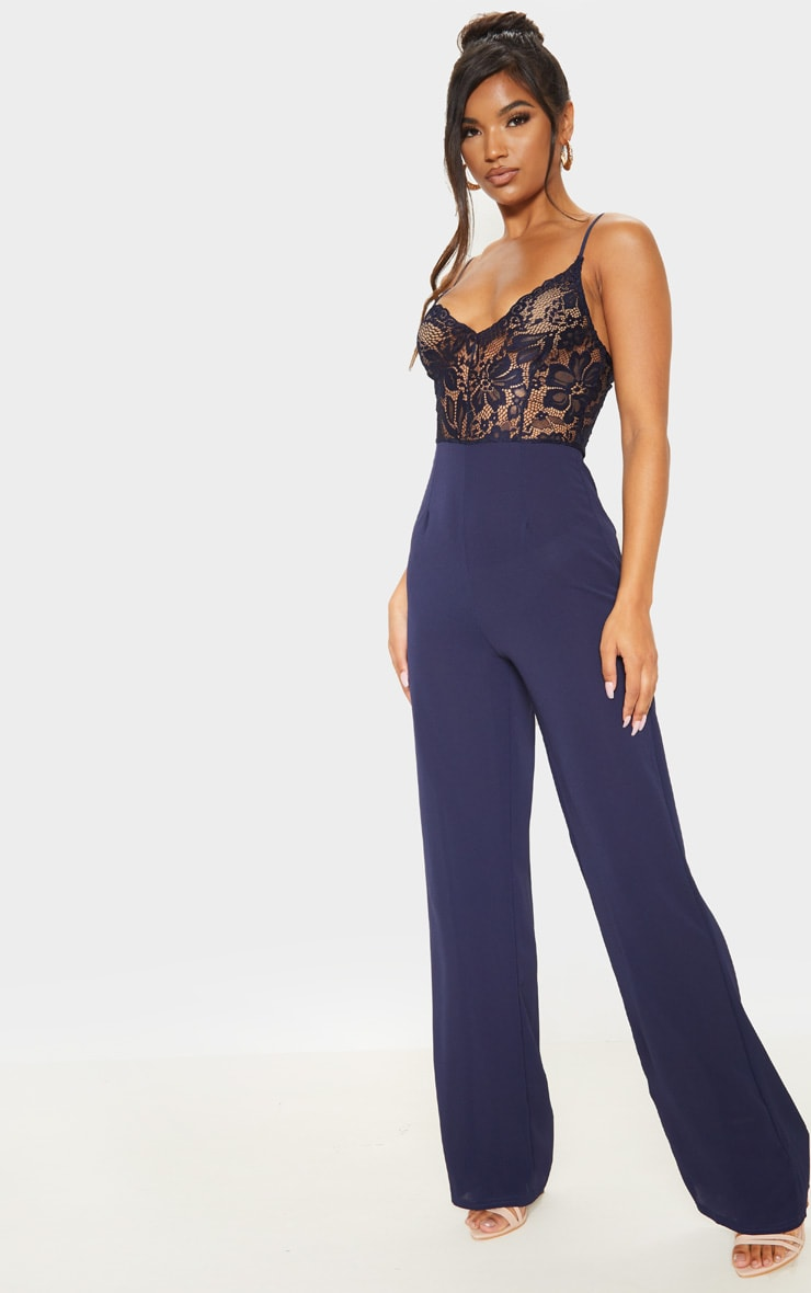Navy Lace Wide Leg Jumpsuit 4