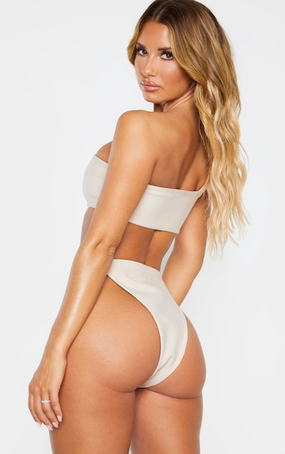 Nude One Shoulder Bandage Buckle Bikini Top