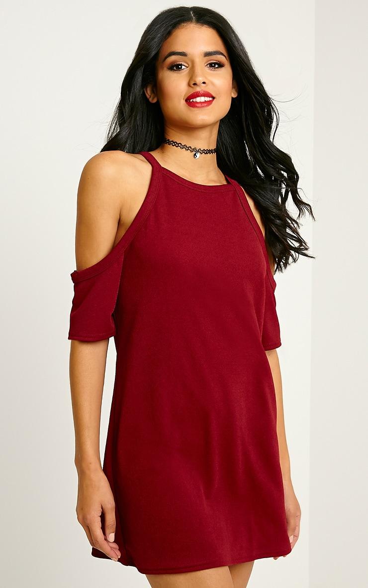 Nola Burgundy Cut Out Shoulder Dress 1