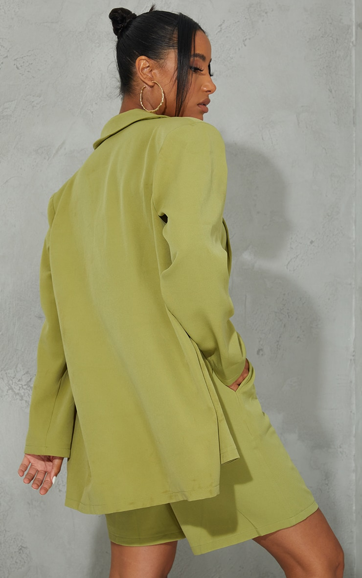 Olive Woven Button Detail Blazer 2