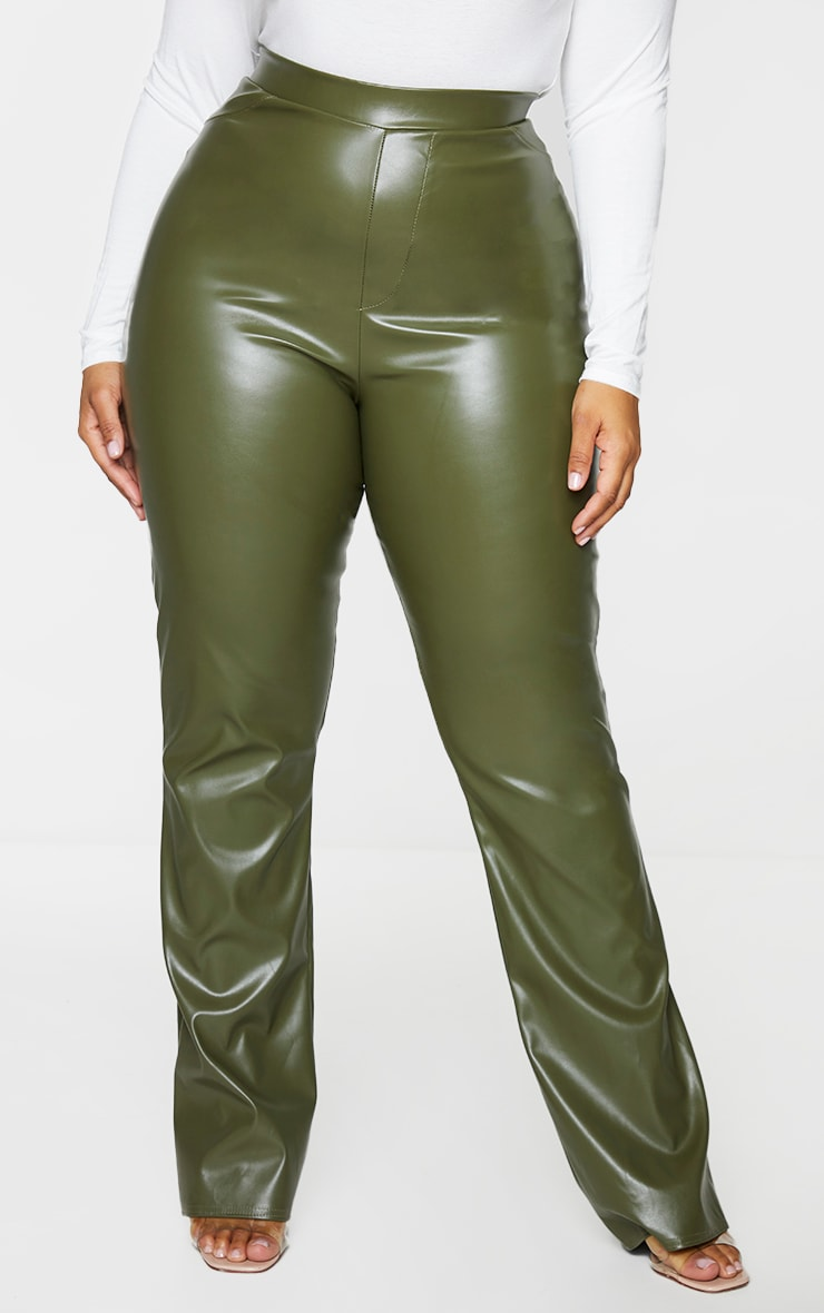 Plus Khaki PU Flared Pants 2